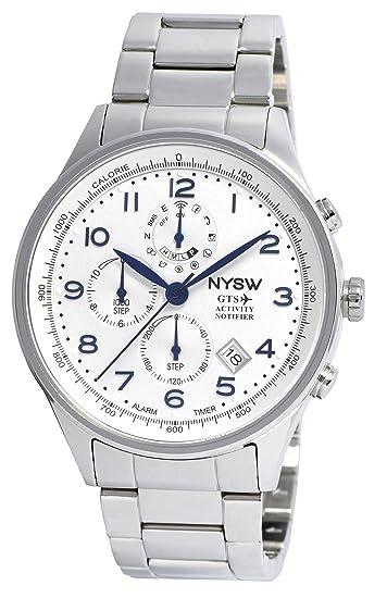 NYSW - Reloj Inteligente híbrido clásico de Lujo – Cristal de Zafiro – día mecánico –
