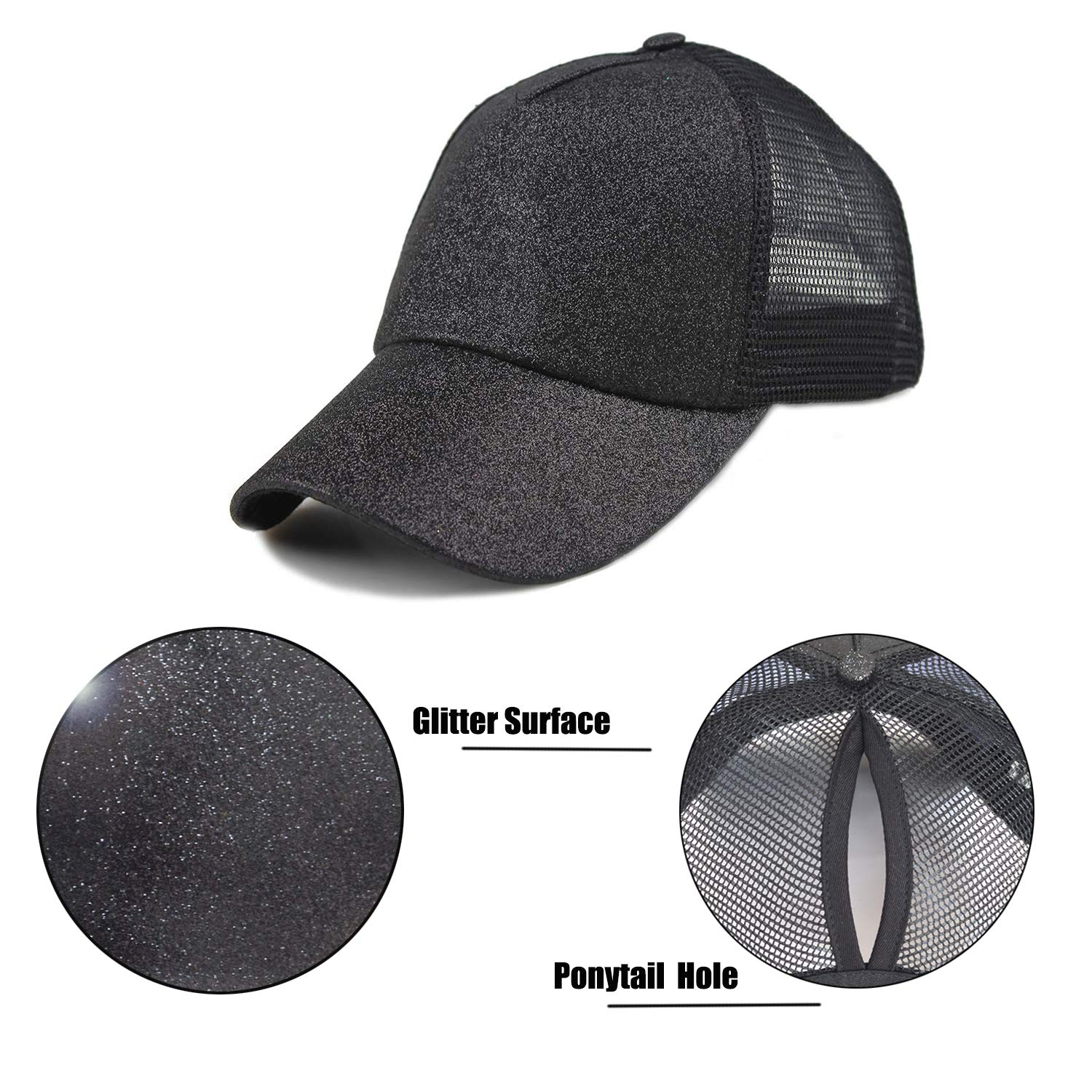 1ec7b48d FADA Black Glitter Ponytail Baseball Cap for High Ponytail Women Girl Messy  Bun Shinny Ponycaps Baseball Hat at Amazon Women's Clothing store: