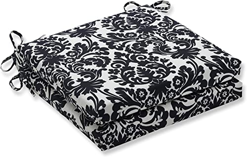 Pillow Perfect Outdoor Indoor Essence Onyx Squared Corners Seat Cushion 20x20x3 Set of 2 ,Black
