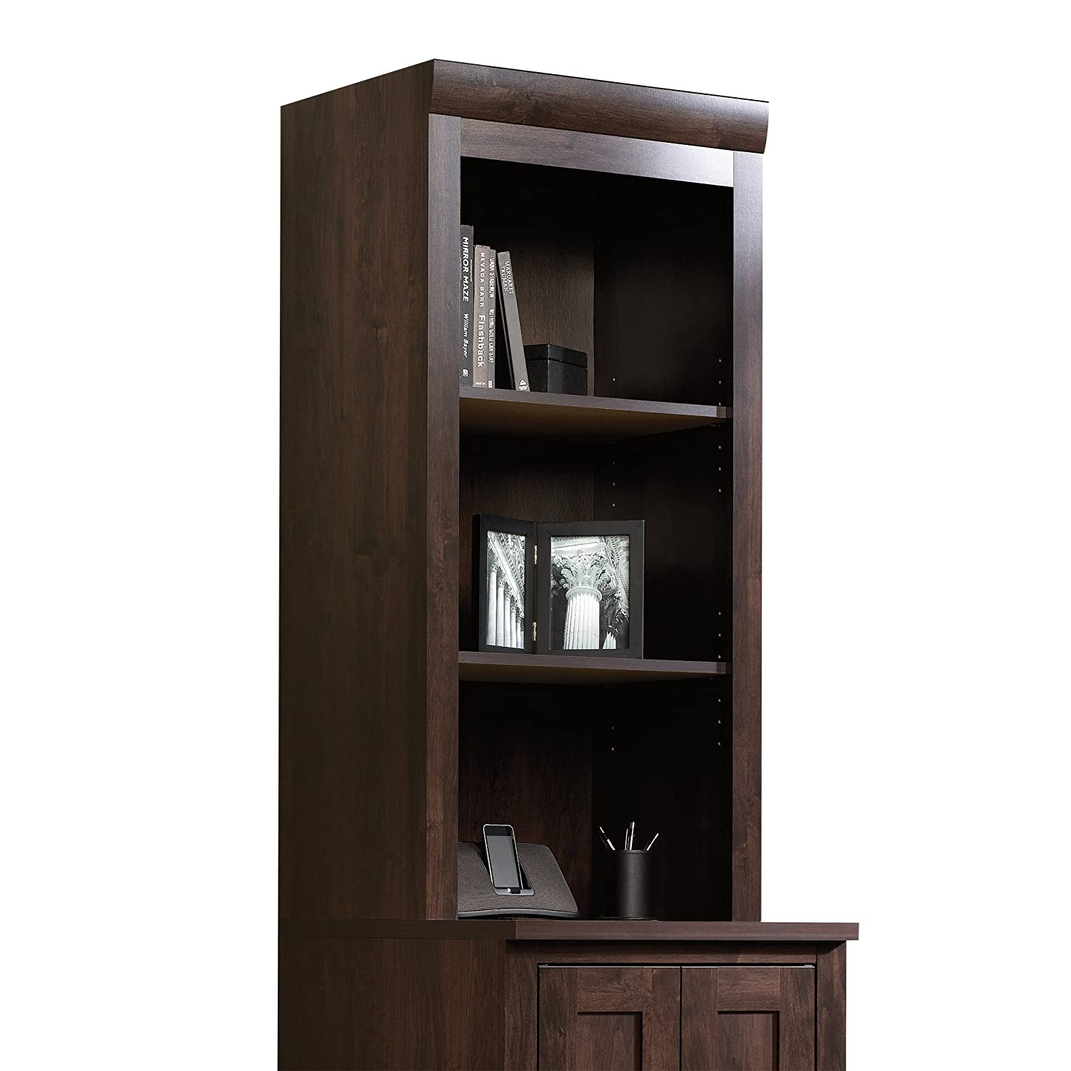Sauder 408364 Office Port Hutch, Dark Alder Sauder Woodworking