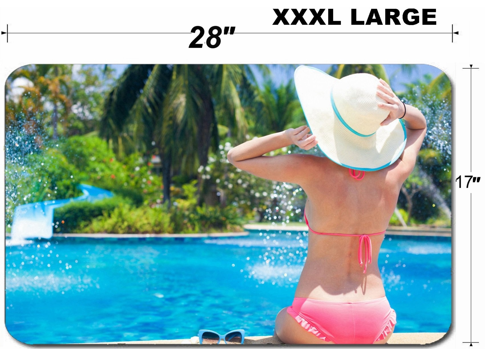 Liili Large Table Mat Non-Slip Natural Rubber Desk Pads young beautiful woman in straw hat relaxing in spa pool 28797868