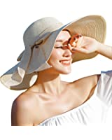 JOYEBUY Women Big Bowknot Straw Hat Floppy Foldable Roll up UV Protection Beach Cap Sun Hat
