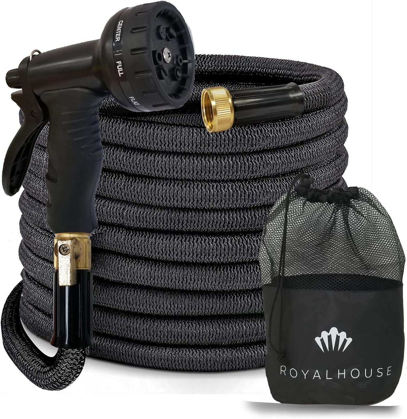 """RoyalHouse 100 FT Black Expandable Garden Hose Water Hose with 9-Function High-Pressure Spray Nozzle, Heavy Duty Flexible Hose - 3/4"""" Solid Brass Fittings Leak Proof Design"""