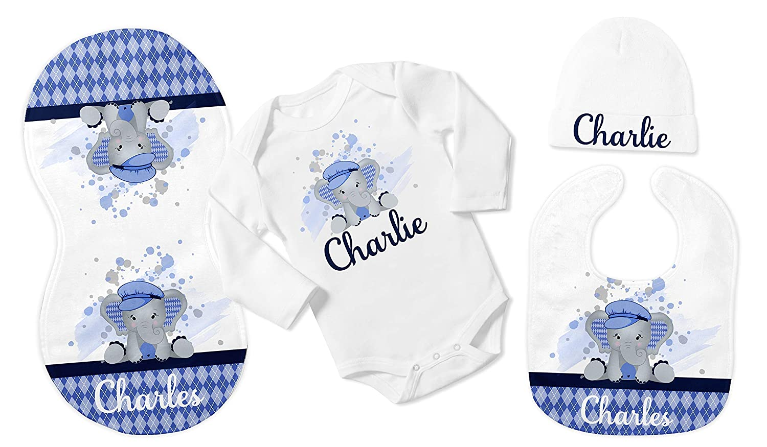 c296b732c Amazon.com: New Baby Boy's White with Blue Argyle Elephant Personalized  Infant Bodysuit with Black Coming Home Outfit: Handmade