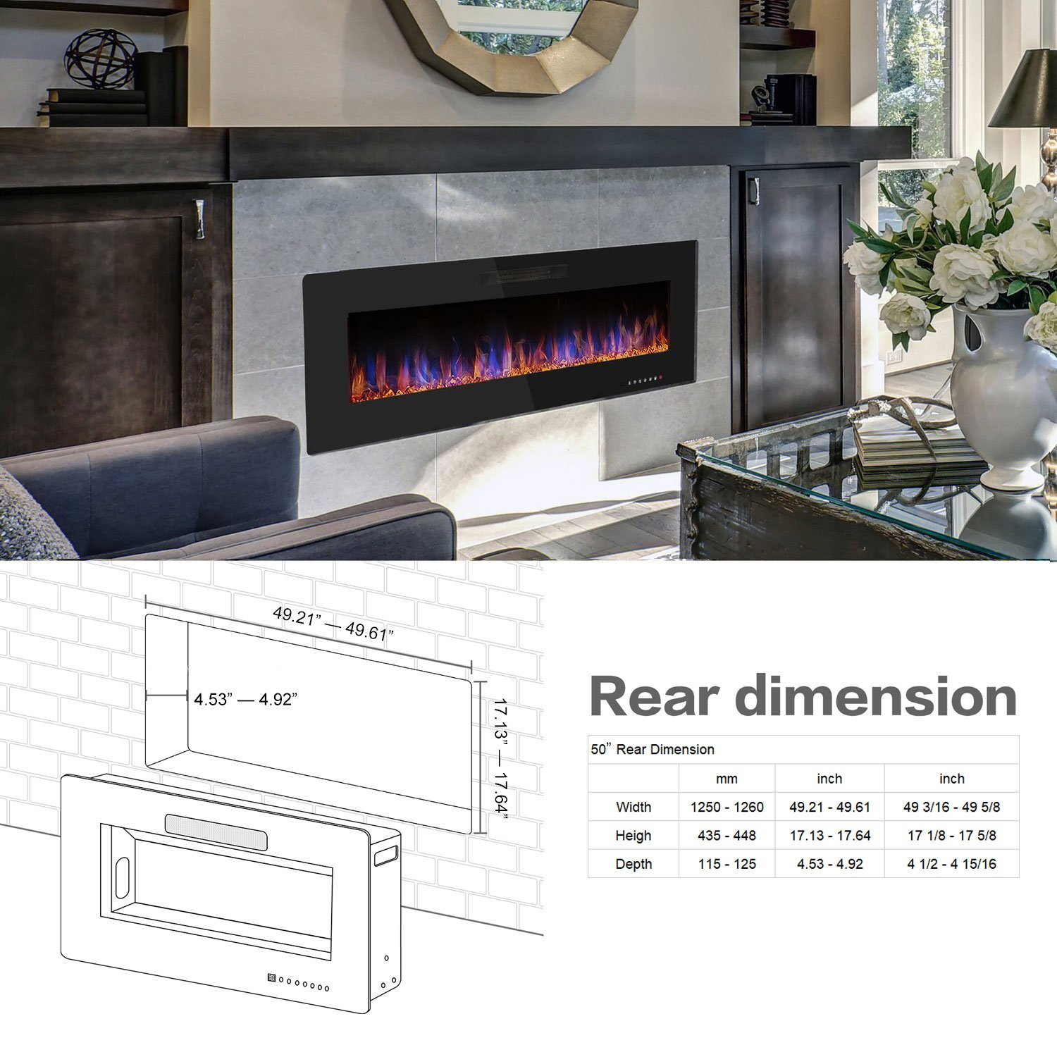 "R.W.FLAME 50"" Recessed Electric Fireplace, Wall Mounted  Black Friday Deals"