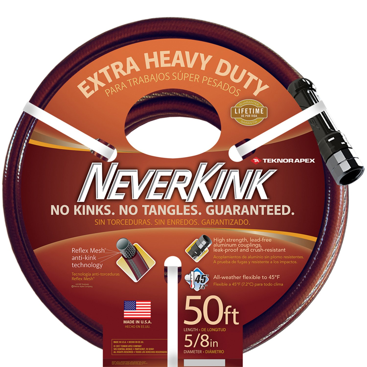 Teknor Apex NeverKink 8642-50, Extra Heavy Duty Garden Hose, 5/8-Inch by 50 -Feet