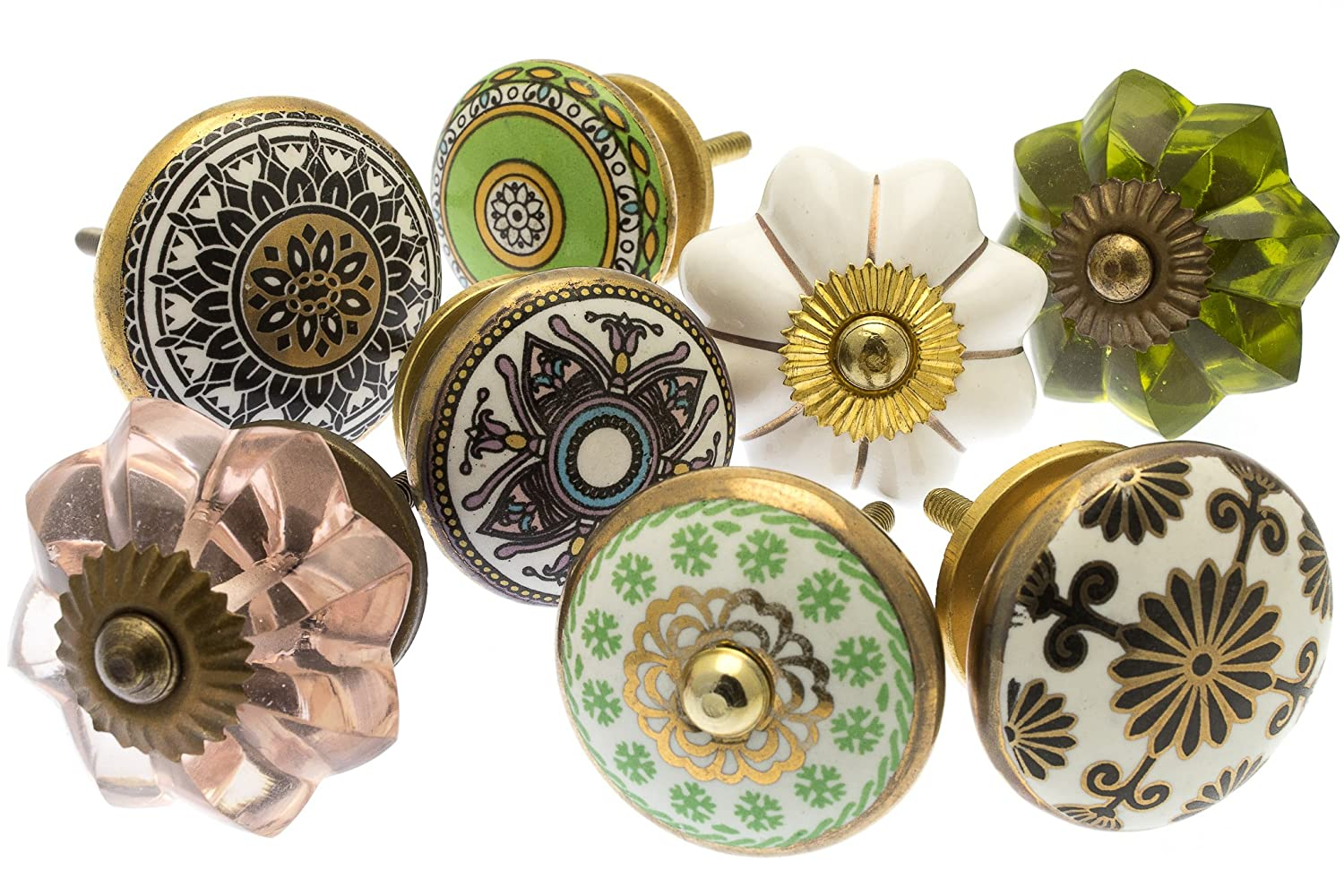 MG-227-A Mango Tree Mixed Set of Vintage Shabby Chic Style Ceramic Cupboard Knobs x Pack 6