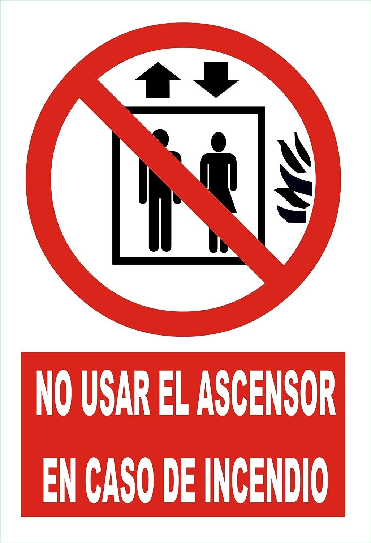 Cartel chapa metálica 300x200 mm x 0.6 mm espesor. No usar el ascensor en caso de incendio