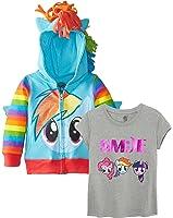 My Little Pony Big Girls' Pinky Pie Hoodie Rainbow Dash Hoodie, T-Shirt Costume Set
