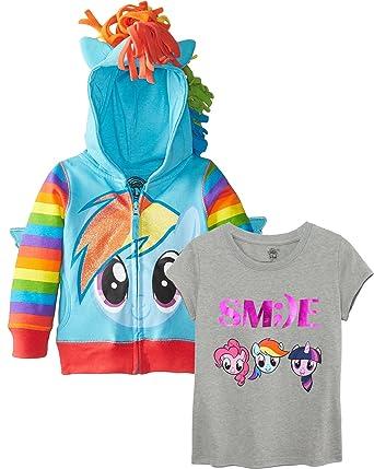 050ad8e29be2 Amazon.com  My Little Pony Big Girls  Pinky Pie Hoodie Rainbow Dash ...