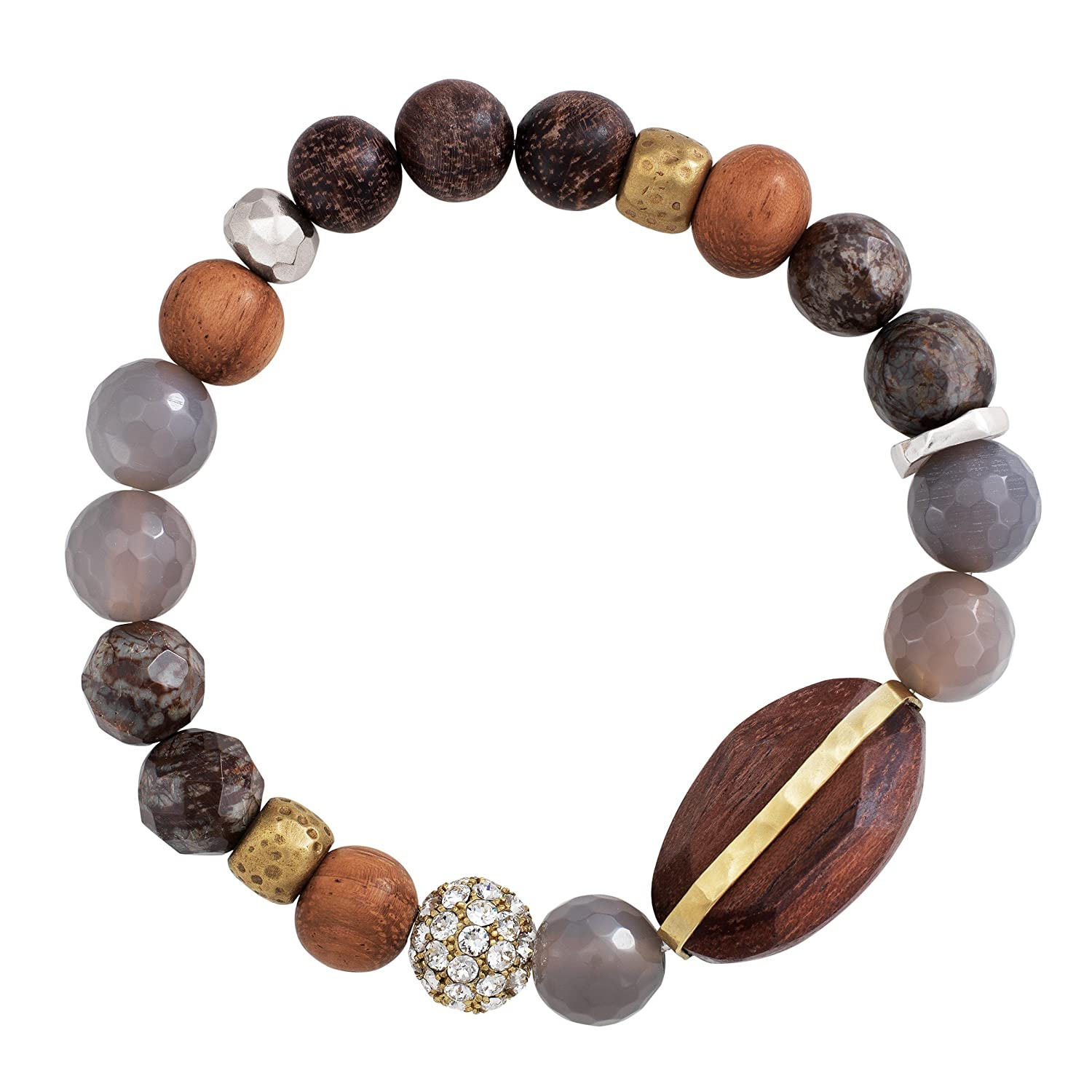 "CDM product Silpada 'Wildwood' Brass, Agate, and Wood Stretch Bracelet, 6.75"" small thumbnail image"