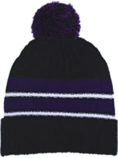 822cc0dd3f0 Polar Wear Boy s Cuffed Knit Hat with Pom and Stripes in 6 Color  Combinations