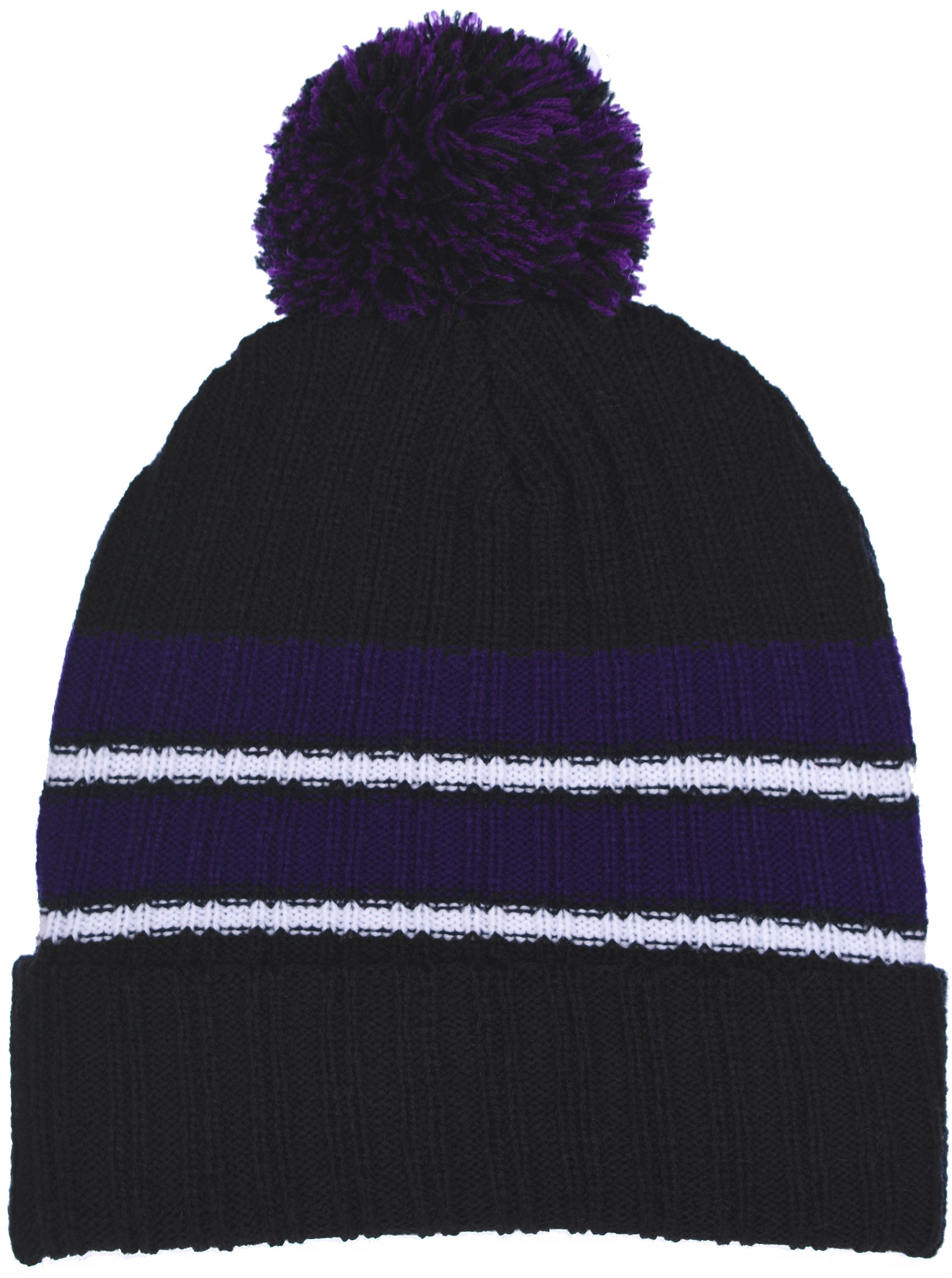 Polar Wear Boy's Cuffed Knit Hat with Pom and Stripes in 6 Color Combinations (Black - Purple)