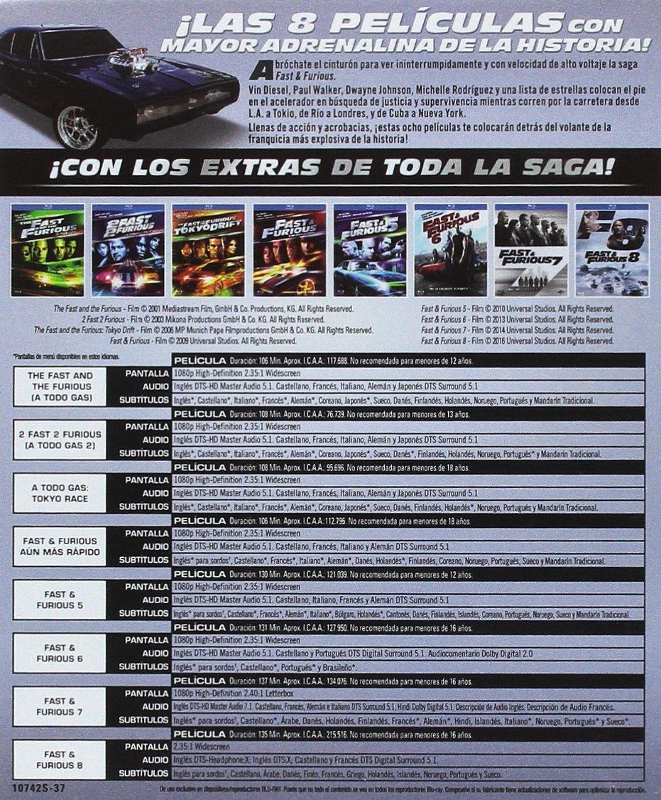 Pack: Fast & Furious (1-8) [Blu-ray]: Amazon.es: Vin Diesel, Jason ...