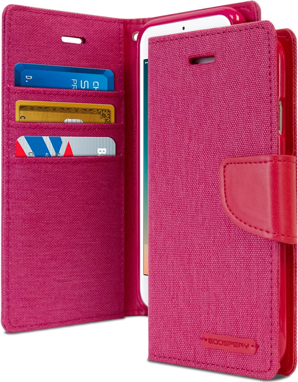Goospery Canvas Wallet for Apple iPhone 8 Plus Case (2017) iPhone 7 Plus Case (2016) Denim Stand Flip Cover (Pink) IP7P-CAN-PNK