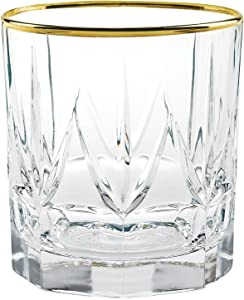 Lorren Home Trends Chic Set of 6 Double Old Fashion Tumblers with 24K Gold Trim, One Size, Clear