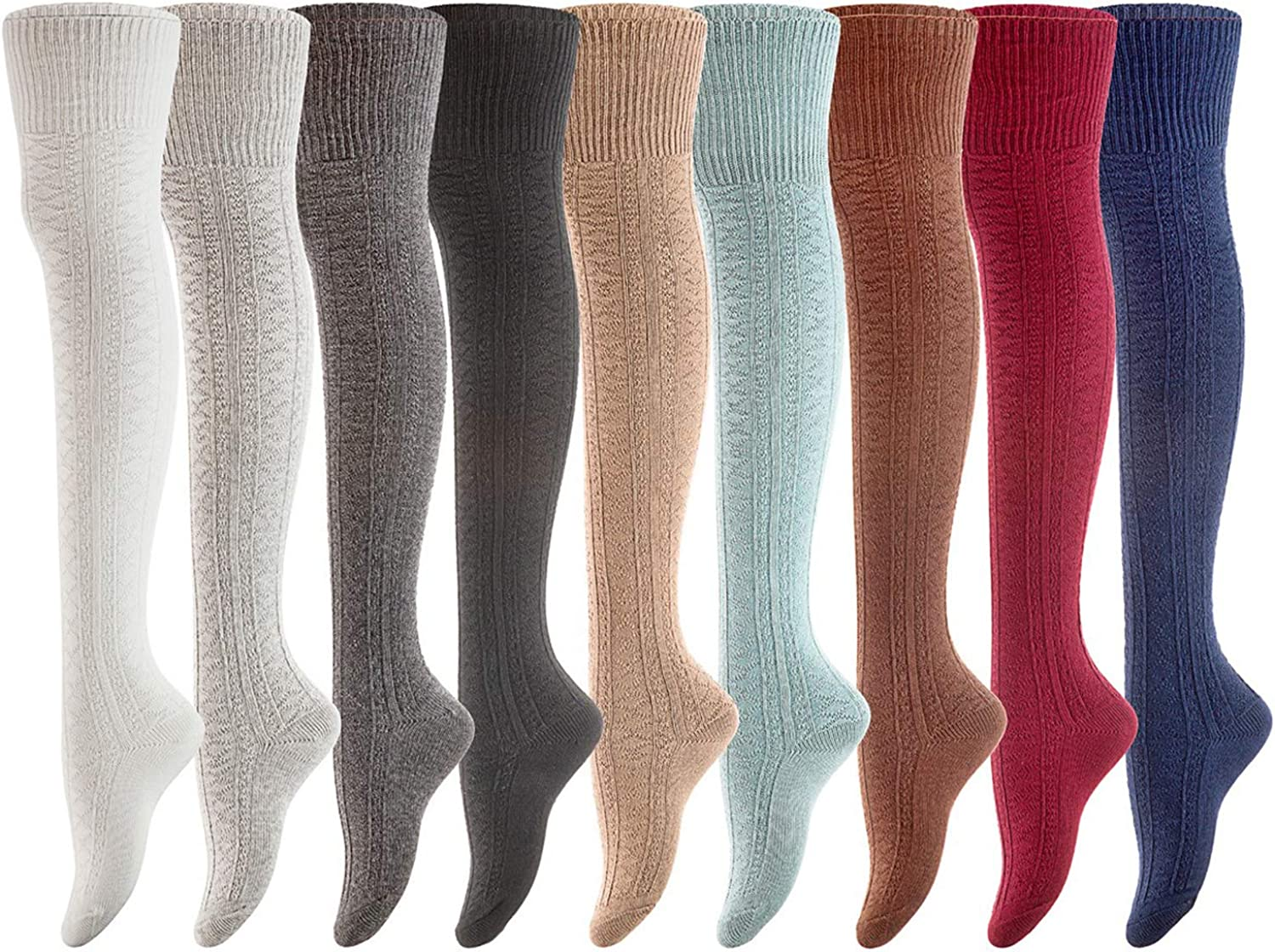 Remarkable Big Girls Womens 3 Pairs Thigh High Cotton Socks LABG1025 One Size