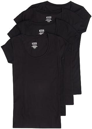 5df8d70677f4 4 Pack Active Basic Women's Short Sleeve Scoop Neck T-Shirt Small Black,  Black