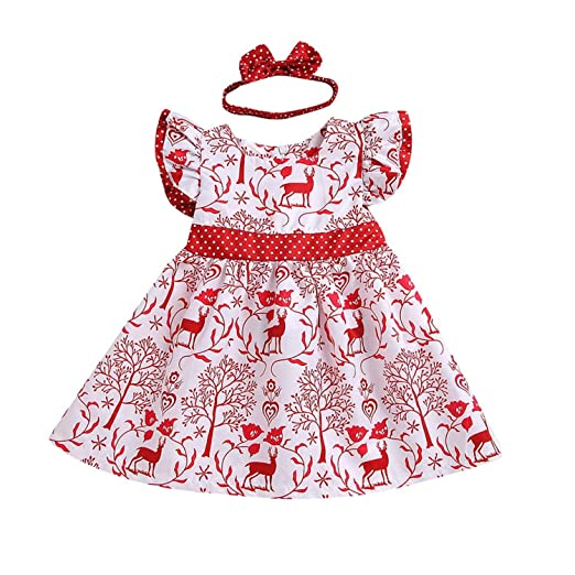 a8b843fdc HESHENG Baby Girl Christmas Dress Kid Lace Strap Deer Printed Romper Newborn  Sleeveless Clothes Outfits Set