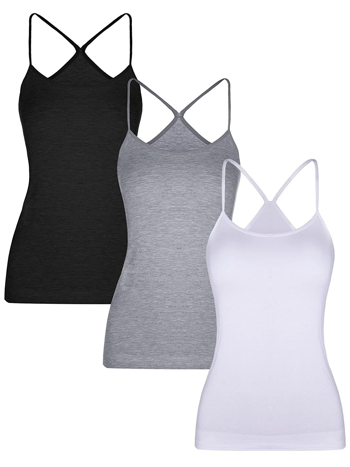 BOAO 3 Pieces Women Camisoles Seamless Basic Stretch Cami with Y-Back Spaghetti Strap Tank Tops, 3 Colors