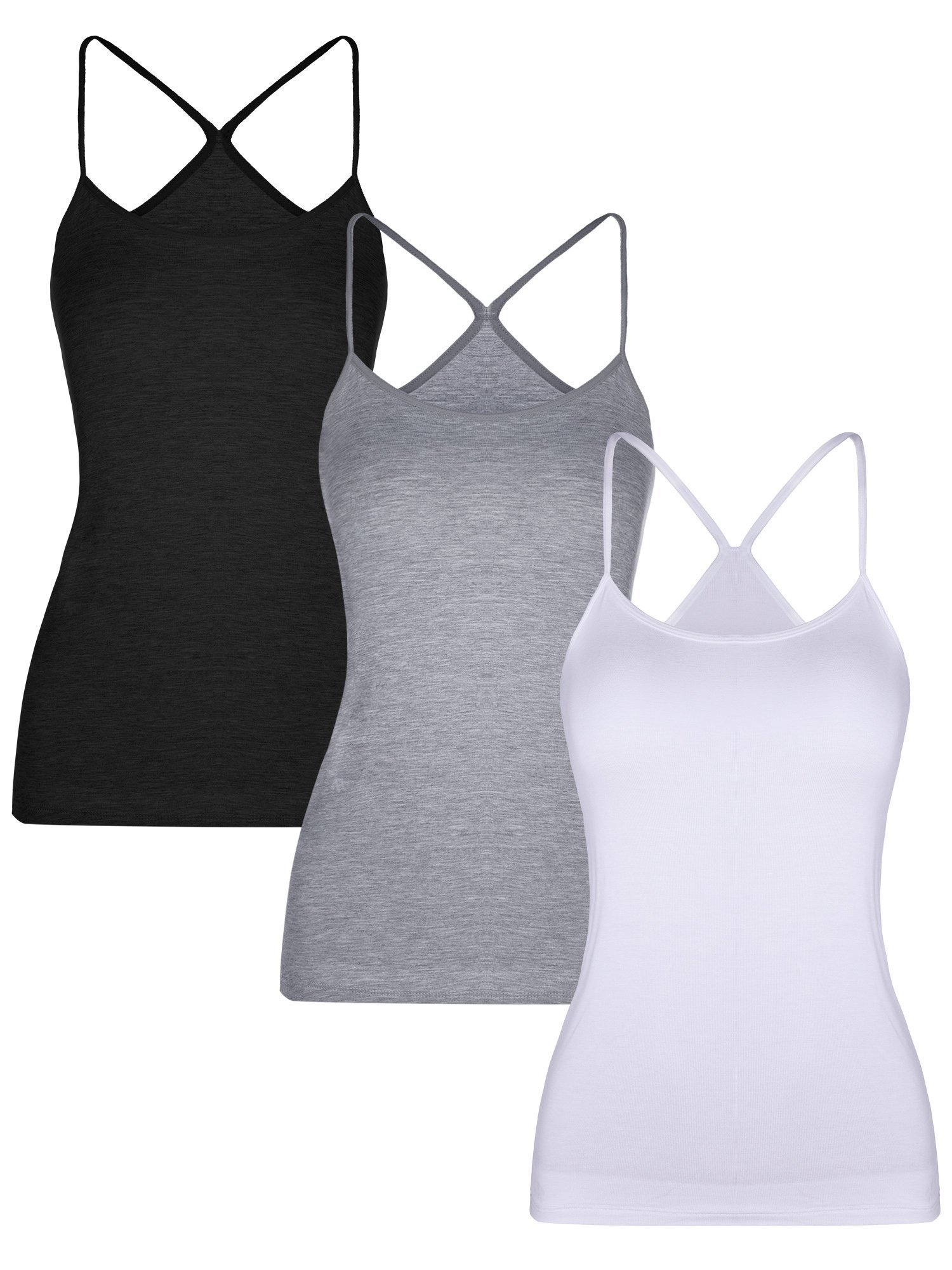 BOAO 3 Pieces Women Camisoles Seamless Basic Stretch Cami with Y-Back Spaghetti Strap Tank Tops, 3 Colors (M Size)