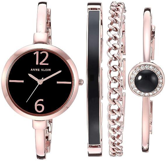 Anne Klein Women's AK/3290BKST Rose Gold-Tone Bangle Watch and Bracelet Set