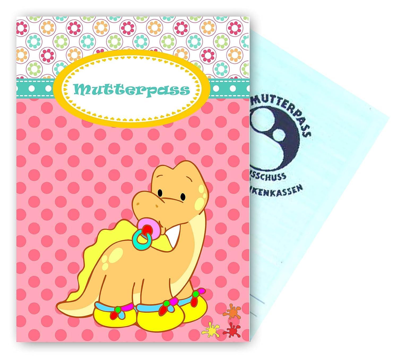 Mutterpasshü lle Babydinos - Motiv 1 - personalisierbar mit Namen Farbklecks Collection ®