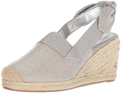 Lauren Ralph Lauren Women's Helma Espadrille Wedge Sandal, Silver, ...