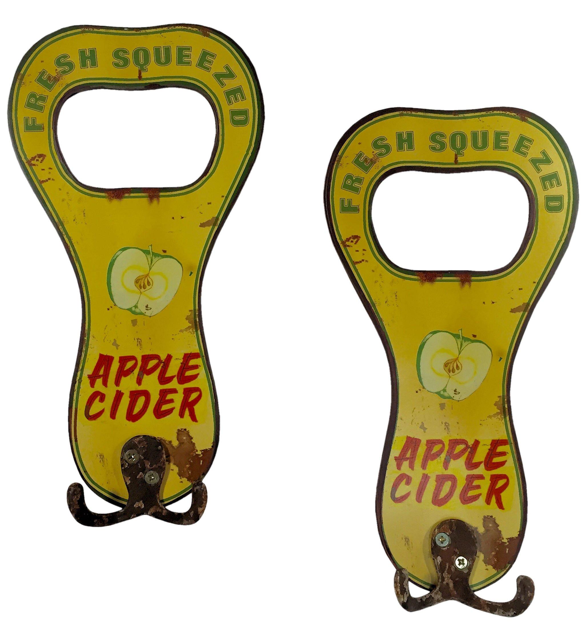 Manual Flea Market Apple Cider Metal Sign Towel Hooks IMSJAH Set of 2