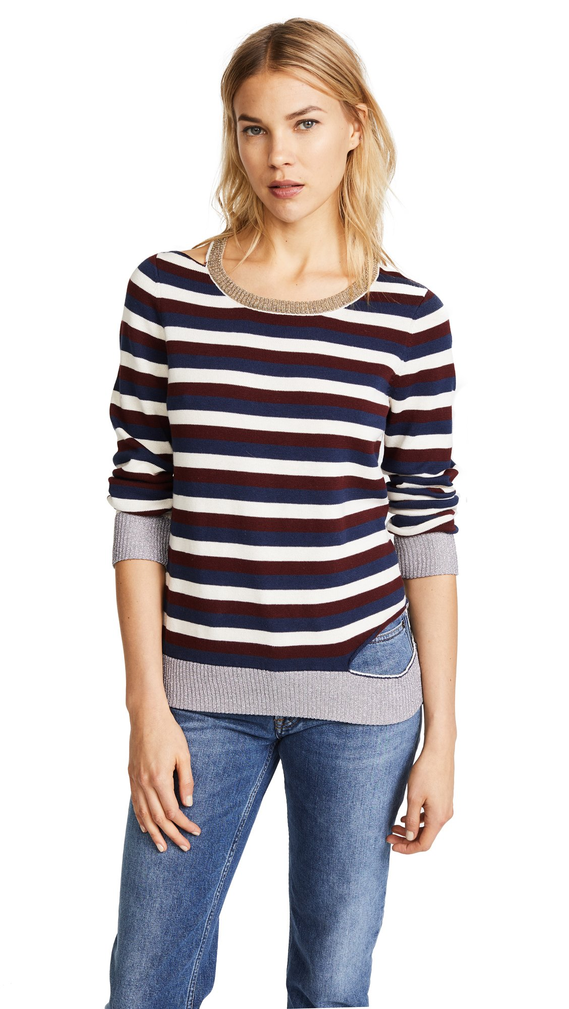 Chaser Women's Deconstructed Striped Sweater, Multi, Small