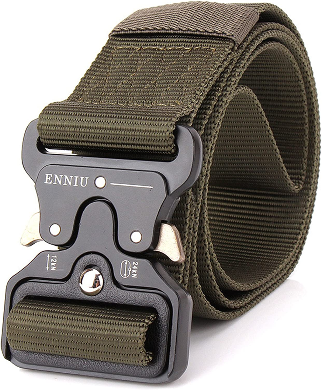 Mens Tactical Belt,Military Style Webbing Riggers Web Belt with Heavy-Duty Quick-Release