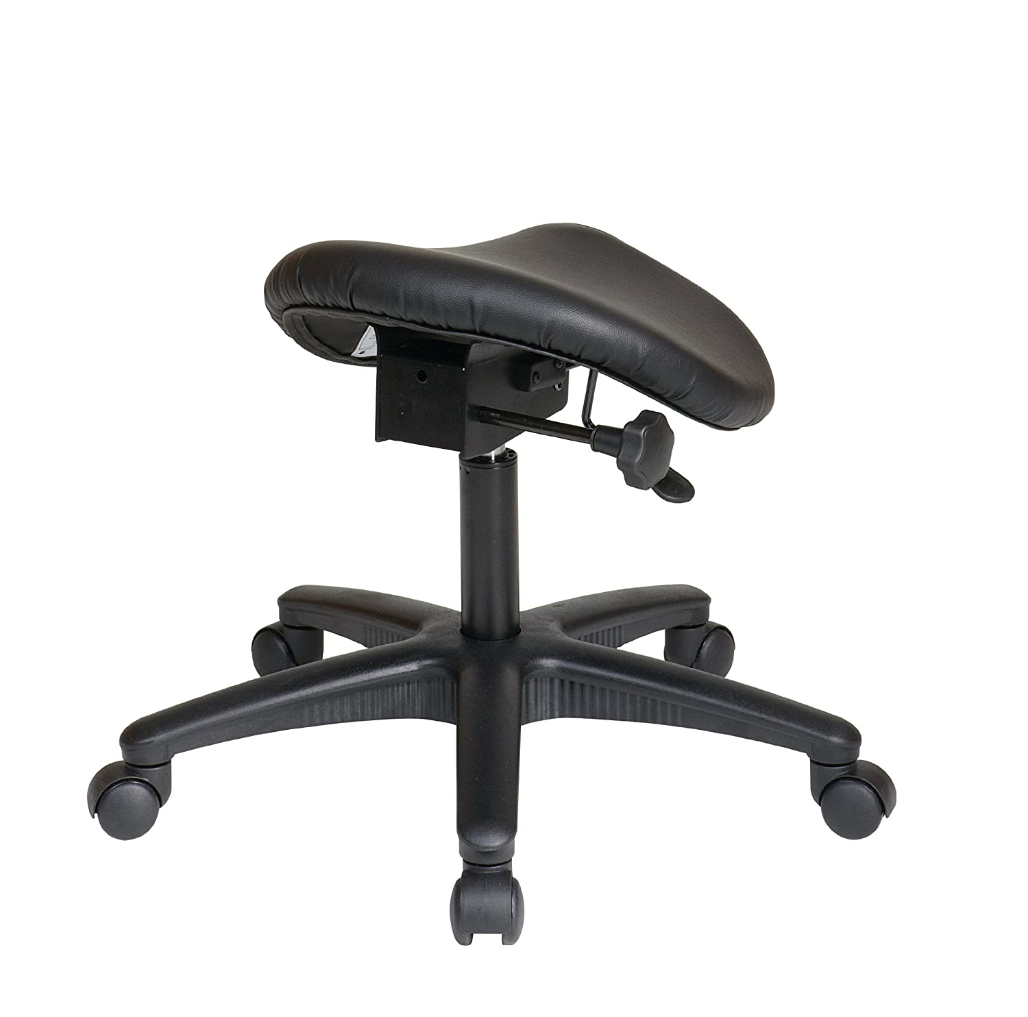 Backless ergonomic chair - Amazon Com Office Star Backless Office Stool With Saddle Seat And Angle Adjustment Black 19 To 24 Inch Adjustable Height Kitchen Dining