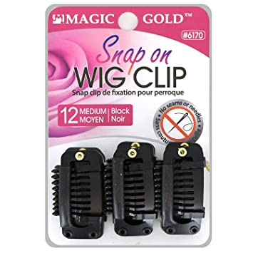 Amazon.com : Magic Gold Snap On WIG CLIP No Seams or Needles (12pcs. Black) by Gold Magic : Beauty