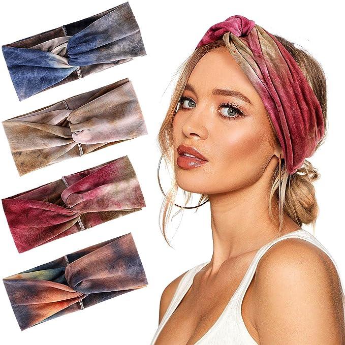 Bascolor Diademas Mujer Elástica Turbantes Flor impresión Diademas Deporte Nudo Banda para Cabello Yoga cabeza Wraps
