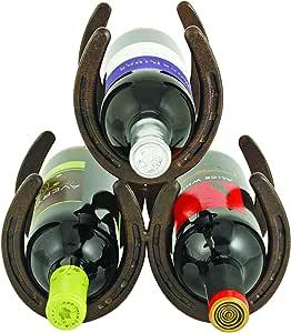"Foster & Rye Horseshoe Countertop 3 Metal Rack and Wine Bottle Holder, Cast Iron, 8"", Rust"