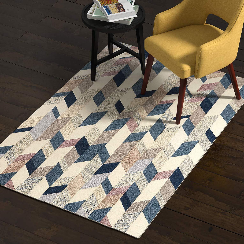 Rivet Modern Geometric Wool Area Rug, 4 x 6