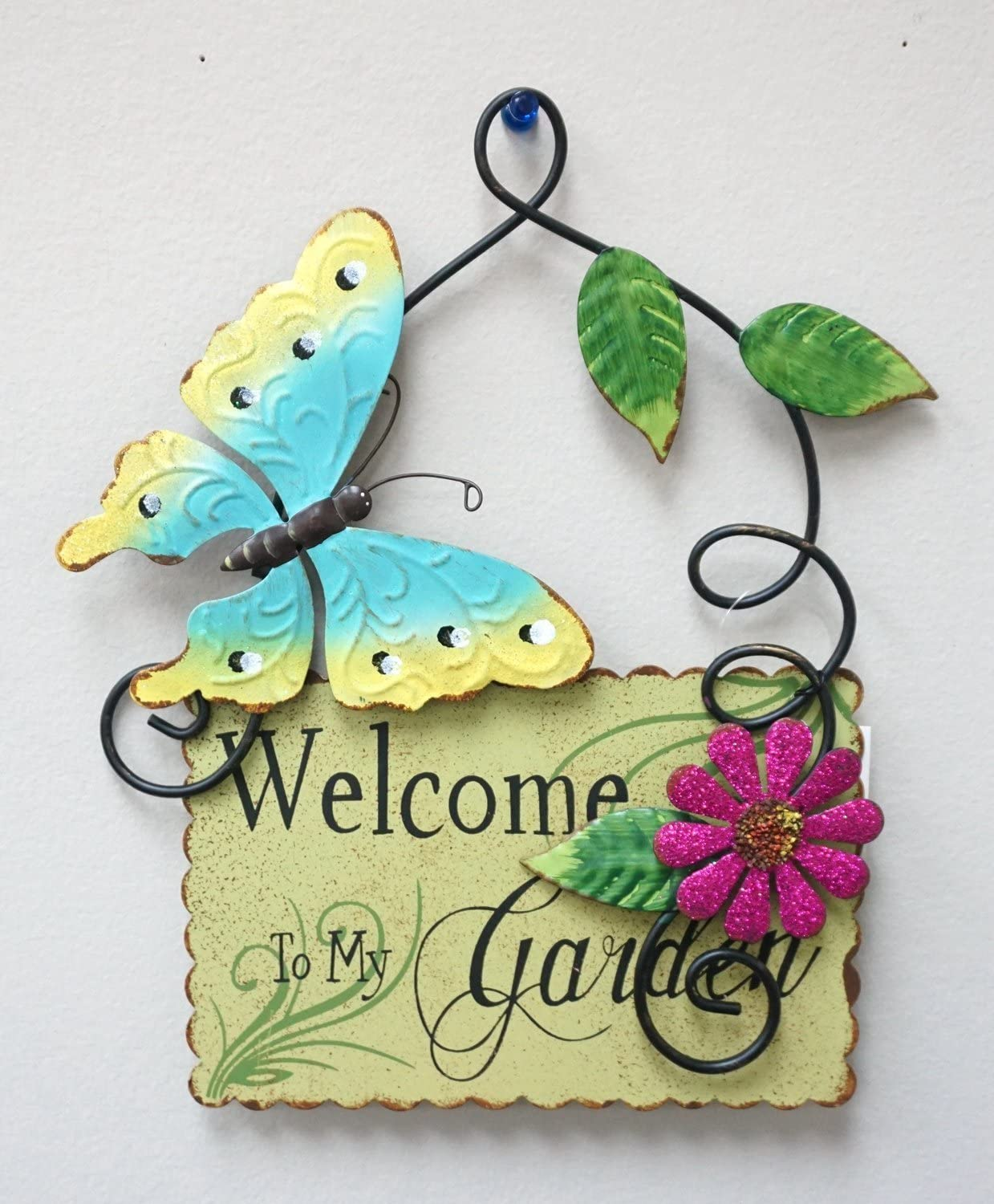 """Home Accent Metal Butterfly & Flower Plaque Wall Art Hanging Spring Garden Decor 10"""" Tall (Sage)"""