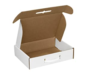 """Aviditi MCC1 Corrugated Carrying Cases, 12 1/8"""" x 9 1/4"""" x 3"""", Oyster White (Pack of 10)"""