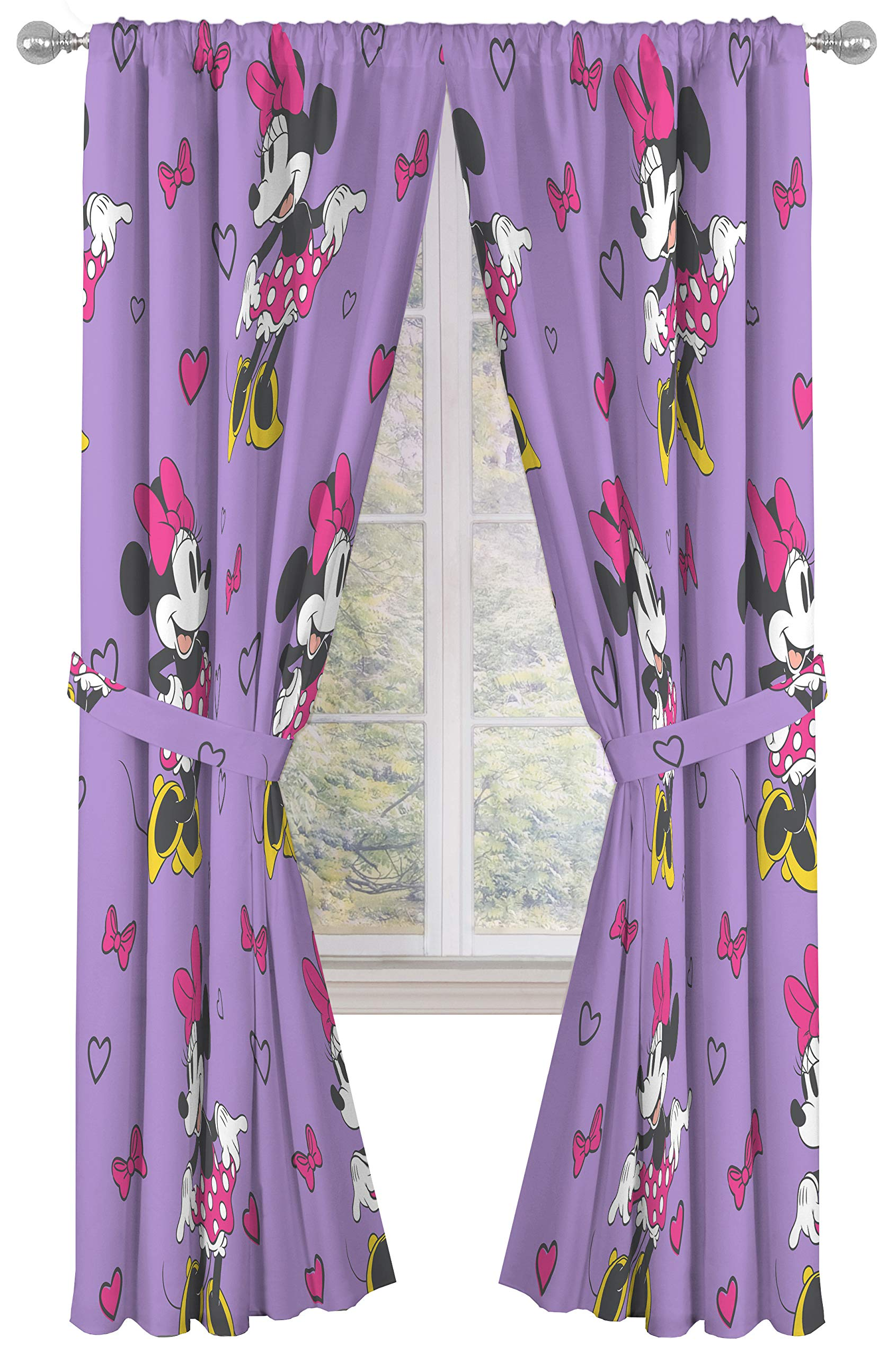 Jay Franco Disney Minnie Mouse Purple Love 84'' inch Drapes 4 Piece Set - Beautiful Room Décor & Easy Set up - Window Curtains Include 2 Panels & 2 Tiebacks (Official Disney Product)