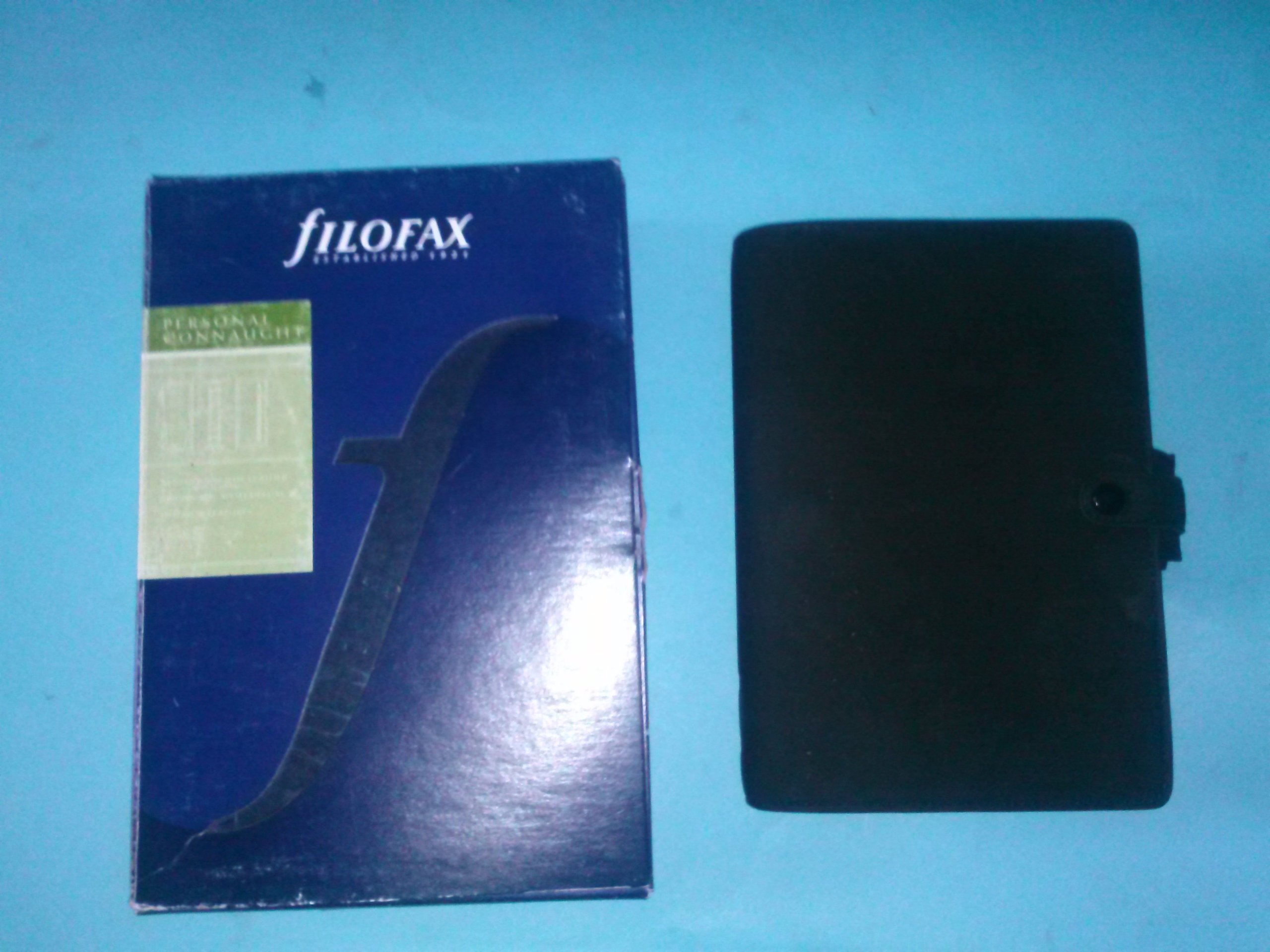 Filofax Connaught 027704 Genuine Seude Nubuck Leather Black Personal Organizer Clasp Close 2 Pen Holders