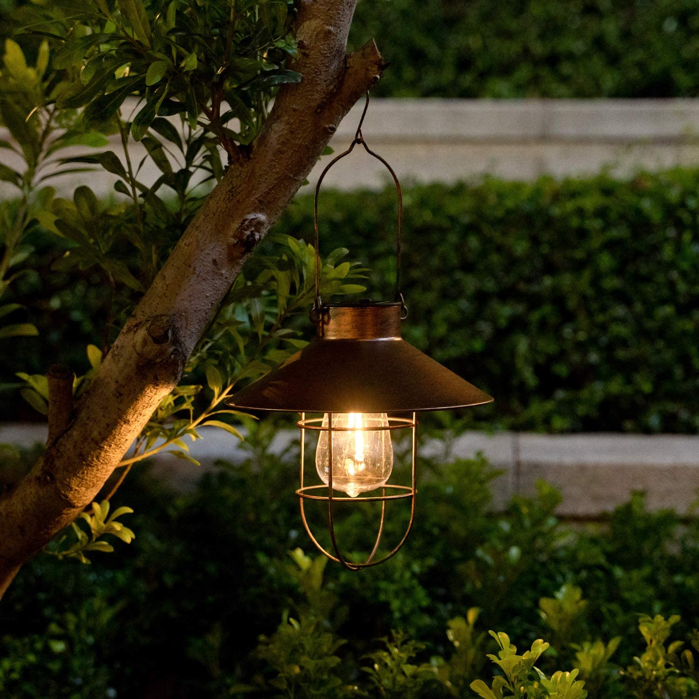 Solar Metal Hanging Lantern with Shepherd Hook and Wall Hanging Ourdoor Led Garden Lights