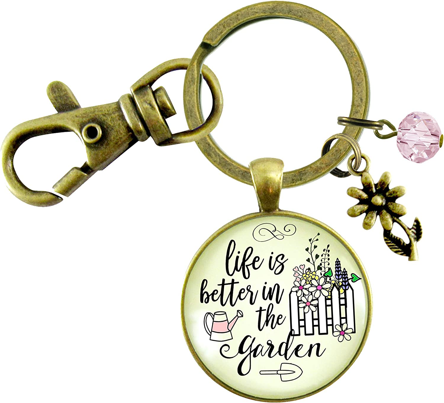 Gutsy Goodness Gardener Keychain Life Is Better In Garden Womens Quote Gift Jewelry
