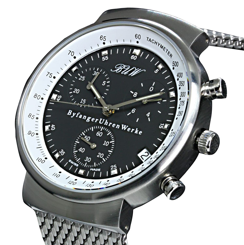 Chronograph- BUW Grande Ronde black-white - Milanaise - Herrenuhr - Herrenarmbanduhr