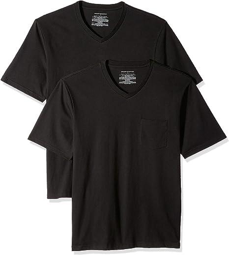 Amazon Essentials Men's 2-Pack Regular-Fit Short-Sleeve V-Neck Pocket T-Shirt