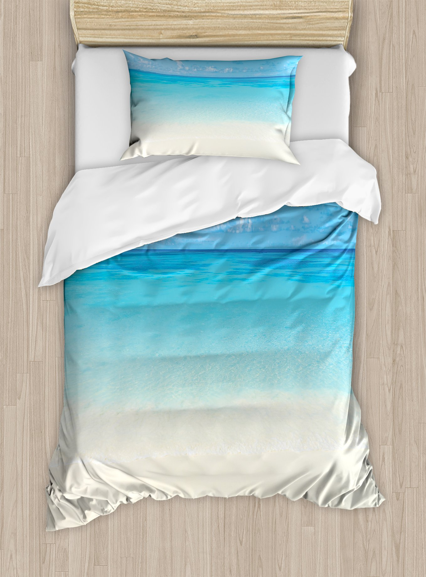 Ambesonne Ocean Duvet Cover Set Twin Size, Paradise Beach in Tropical Caribbean Sea with Fantastic Sky View Beach House Theme, Decorative 2 Piece Bedding Set with 1 Pillow Sham, Cream Navy