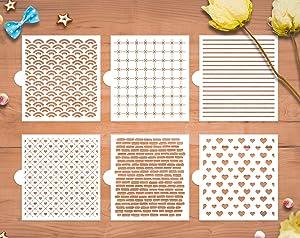 GSS Designs Cookie Stencil 6 Pack, Food Safe Templates for Decorating & Baking, Bricks, Waves, Hearts, Ruler (SL-058)