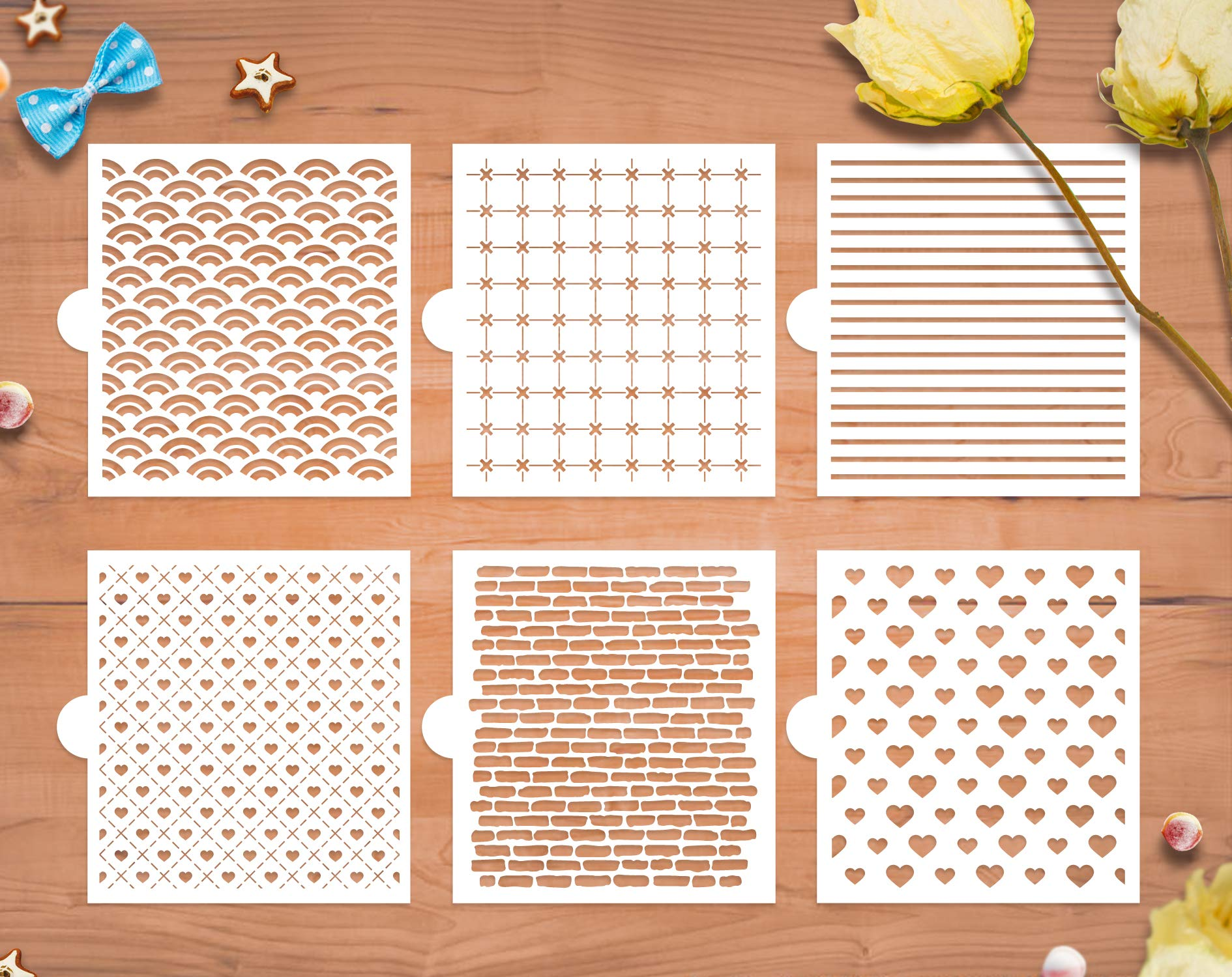 GSS Designs Cookie Stencil 6 Pack, Food Safe Templates for Decorating & Baking, Bricks, Waves, Hearts, Ruler (SL-058) by G GSS Designs