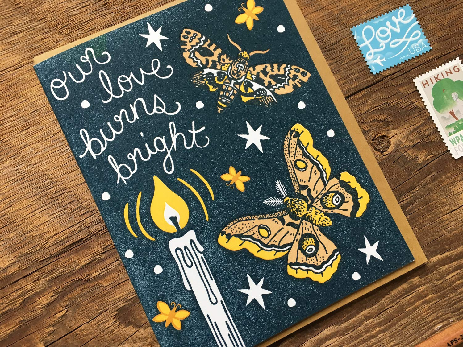 Moth to a Flame Blank Inside Letterpress Note Card Love Card