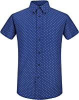 QIHUANG Sailor Elements Pattern Mens Casual Slim Fit Short Sleeve Dress Summer Shirts
