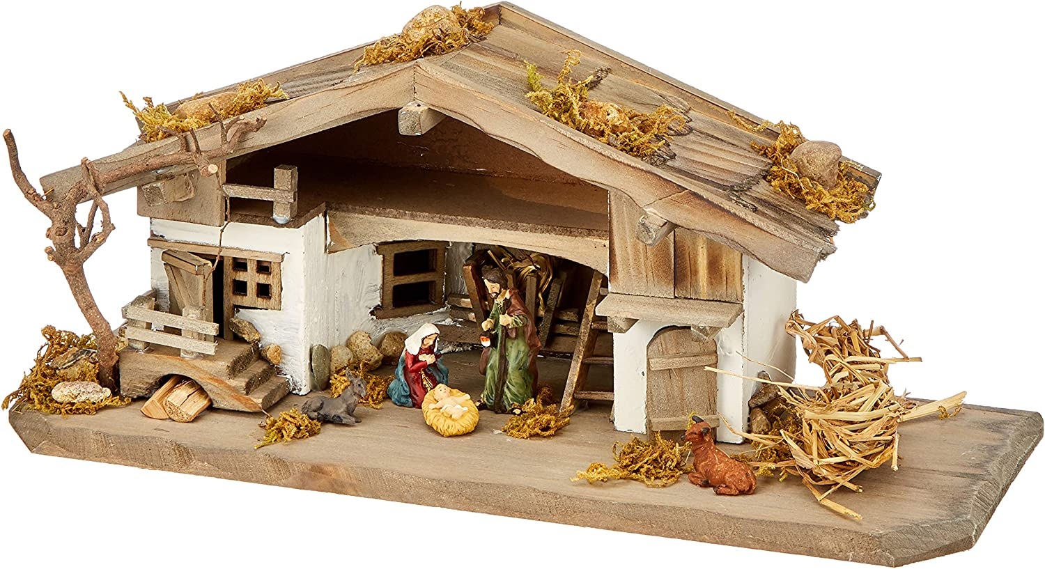 Unknown Nk04 Nativity Stable Nativity Scene Wooden Nativity Scene Table Nativity Scene Includes 3 Piece Figure Set Solid Wood Colourful 30 X 11 X 13 Cm Amazon Co Uk Kitchen Home